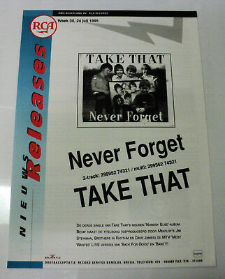 Take That Holland Rca 1995 Promo Release Sheet Robbie Williams Never Forget