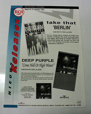 Take That Holland Rca 1994 Promo Release Info Sheet Robbie Williams Berlin