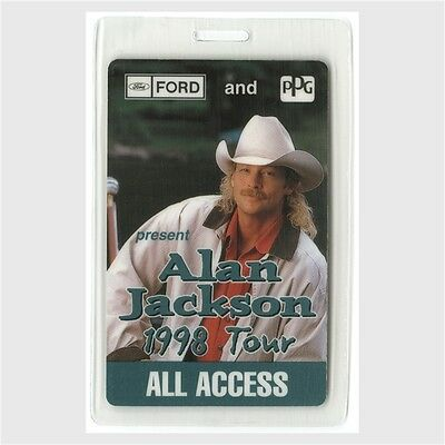 Alan Jackson authentic 1998 concert tour Laminated Backstage Pass country AA