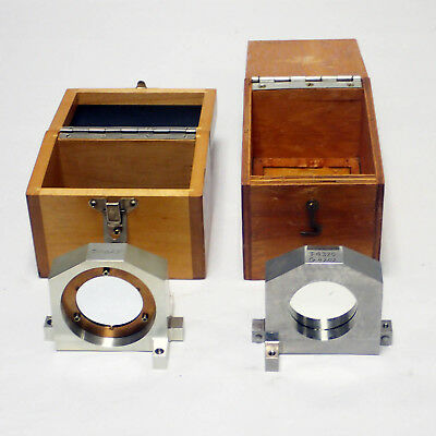 LOT OF 2 PRECISION OPTICAL MIRRORS IN ALUMINUM FRAMES w/ WOODEN CASE