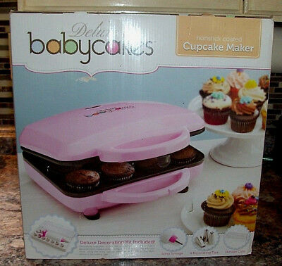 Babycakes CC-12 Full Size DELUXE Cupcake Maker, w/Decoration Kit Pink NEW SEALED