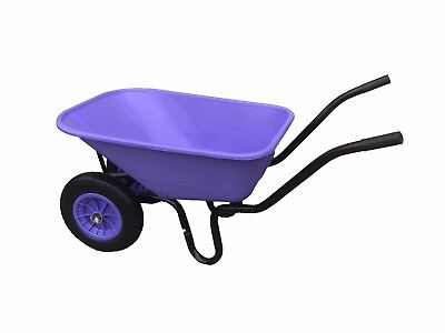 110L Double Wheelbarrow With Puncture Proof Wheel & Purple Plastic Body / Barrow