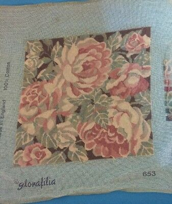 Completed Vintage Glorafilia Needlepoint Tapestry With Pink Flower Design Roses