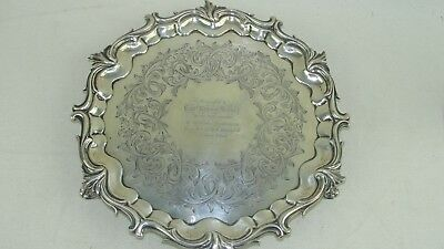 "Vintage Sterling Silver 10"" Plate Circa 1850 From Ship Waterloo! To Capt. Harvey"