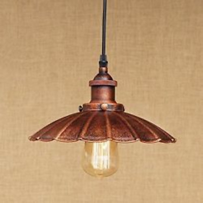 Pendant Light Rustic Fixture Antique Industrial Rust Metal Ceiling Hanging Lamp