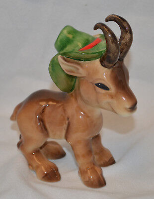 Beautiful Goebel Goat with Green Hat - #516 - Very Nice - Excellent