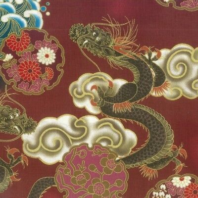 Fat Quarter Hiko Japanese Dragon Cotton Quilting Fabric Nutex 68390 104 Red
