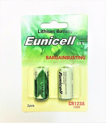 2 x EUNICELL 3v LITHIUM 123 CR123A DL123 Photo Batteries