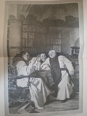 A Good Story from E Gruetzner 1908 large old print monks