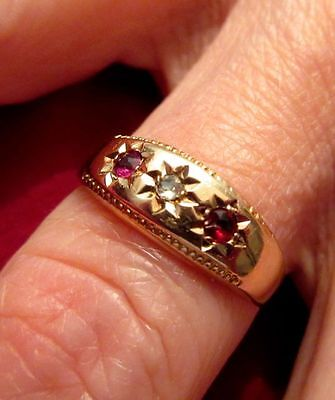 Gypsy Ring, 22K Gold Authentic Antique Victorian with Rose Cut Diamond & Rubies