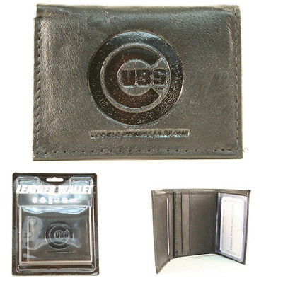 Chicago Cubs Black Leather Tri-fold Wallet