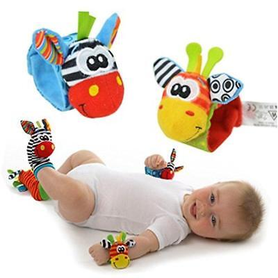 New 4 Piece Animal Baby Hand Wrist & Foot Rattles Developmental Toy USA