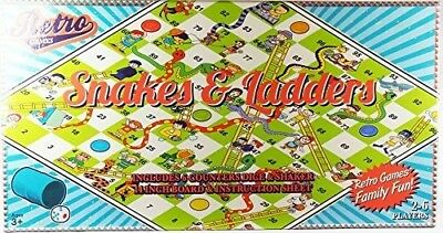 Retro Games Snakes & Ladders Board Game Suitable for 3+ 2-6 Players