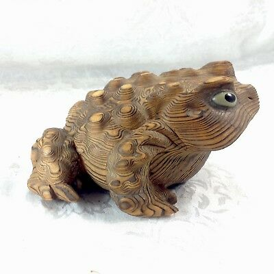 Cryptomeria Frog Toad Hand Carved Wood Japan Figurine Carving Vintage Glass Eyes