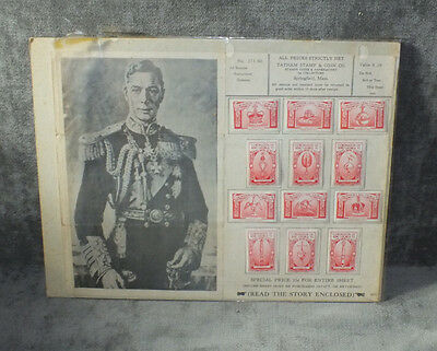 1937 Great Britain King George VI Coronation Set 12 Red Poster Stamps MS10
