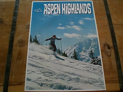 Vintage *ASPEN HIGHLANDS* SKI Area Poster in MINT CONDITION