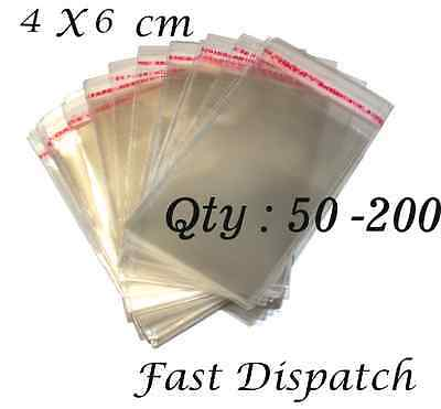 50 - 200 Cellophane Bags 4 X 6 cm Clear Cello Display Self Adhesive Peel & Seal