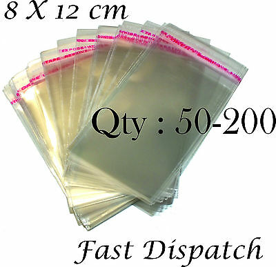 50 - 200 Cellophane Bags 8 X 12 cm Clear Cello Display Self Adhesive Peel & Seal