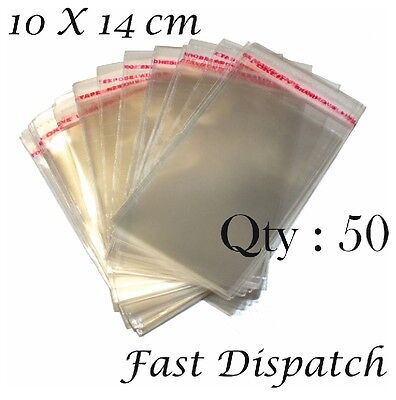 50 of 10 X 14 cm Clear Cello Cellophane Bags Display Self Adhesive Peel & Seal
