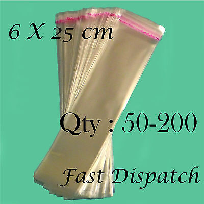 50 - 200 Cellophane Bags 6 X 25 cm Clear Cello Display Self Adhesive Peel & Seal
