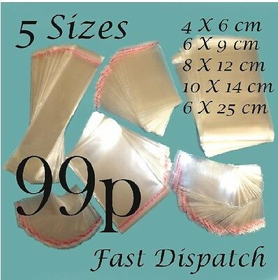 99 p Clear Cello Cellophane Bags Display Self Adhesive Peel & Seal 5 sizes