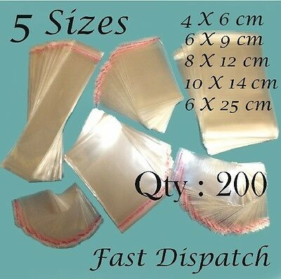 200 Clear Cello Cellophane Bags Display Self Adhesive Peel & Seal 5 sizes