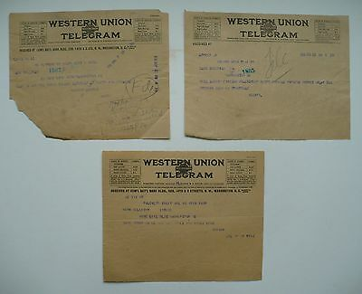 3 Telegrams By Herbert Hoover, United States President