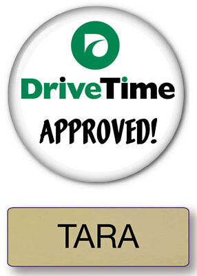 Tara Drive Time Commercial Pin Back Name Badge & Button Halloween Ships Free