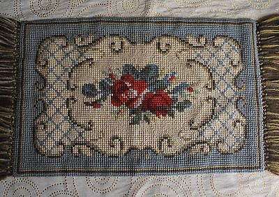 vintage Swedish cross-stitch wool hand-embroidered  tapestry Roses