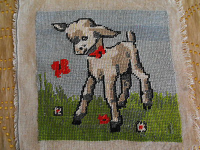 vintage hand-embroidered tapestry Lambkin