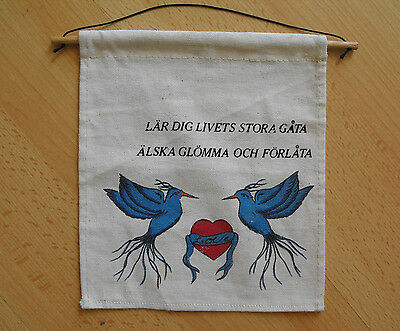 Vintage Swedish Hand Printed Linen Tapestry