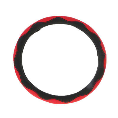 Non-slip Leather Microfiber Car Steering Wheel Cover Protector 38cm Red