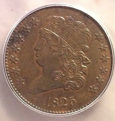 1825 1/2C ICG AU 55 Details Classic Head Half Cent*ONLY 63,000 MINTED*BARGAIN