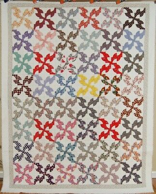Large 40's Vintage Drunkard's Path Antique Quilt ~VINTAGE NOVELTY FABRICS!