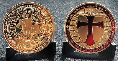 Templar Knight, Red And Gold Plated Coin, Free Mason.
