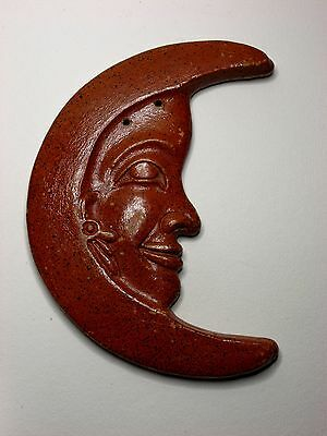 Mexican Ceramic Studio Art Man in the Moon Wall Plaque
