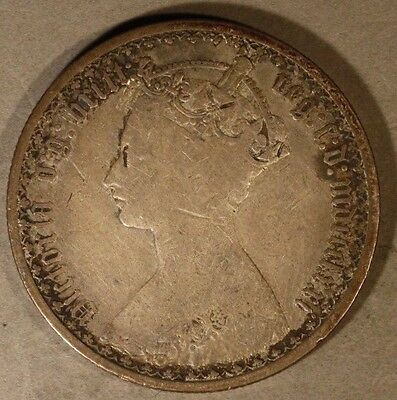 1871 Great Britain Gothic Florin Silver Coin        ** Free U.S. Shipping **
