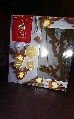 Stunning Wooden Style White Stag Lights,christmas,bnib