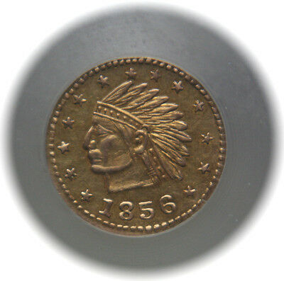 1856 California Gold Fractional Token Indian Wreath With Star NGC MS62