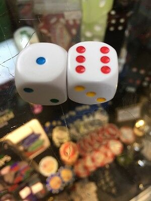 Pair Of Multi Coloured Spot Dice - Six Different Colours - Brand New - 1.6Cm