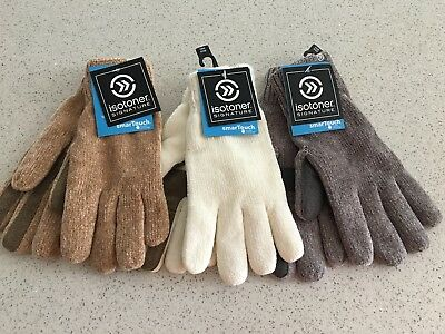 Women's ISOTONER Chenille Knit SmarTouch Gloves, Ivory/Gray/Camel One Size