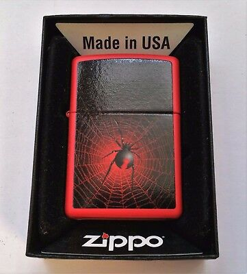 Zippo Lighter The Parlor Spider Halloween Red Matte Finish 2012 New in Box
