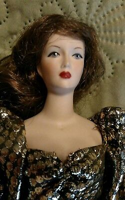 """Porcelain Bisque Fashion Doll 11"""" Tall. Full Porcelain Body Lady Doll OOAK Gown."""