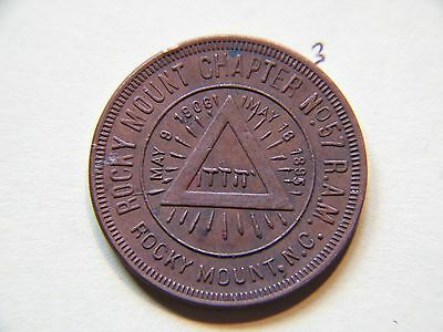 Masonic Penny , Rocky Mount Chapter No 57 R.A.M, May 18 1895, May 9 1906