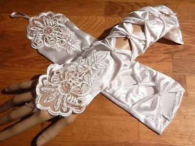 WHITE COSTUME EVENING GLOVES embroidered lace sequined beaded cutout wedding 5V