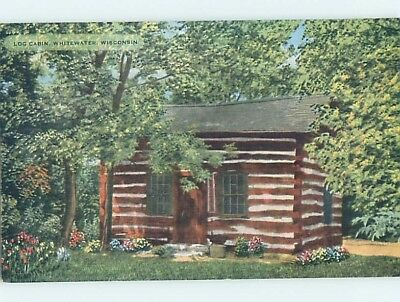 Unused Linen LOG CABIN Whitewater Wisconsin WI HM9339