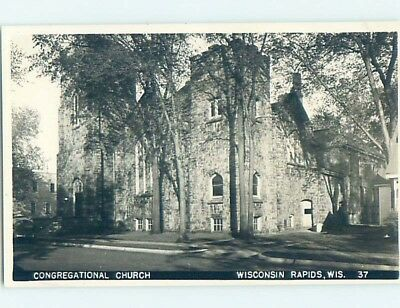 Pre-1950 rppc CONGREGATIONAL CHURCH Wisconsin Rapids WI HM3677