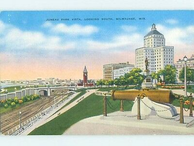 Unused Linen PARK SCENE Milwaukee Wisconsin WI hk6591