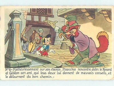 1940's French Disney postcard PINOCCHIO WITH FOX IN TOPHAT ho4206