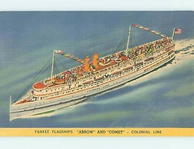 Unused Linen Yankee COLONIAL LINE CRUISE BOAT SHIP HM9356-12